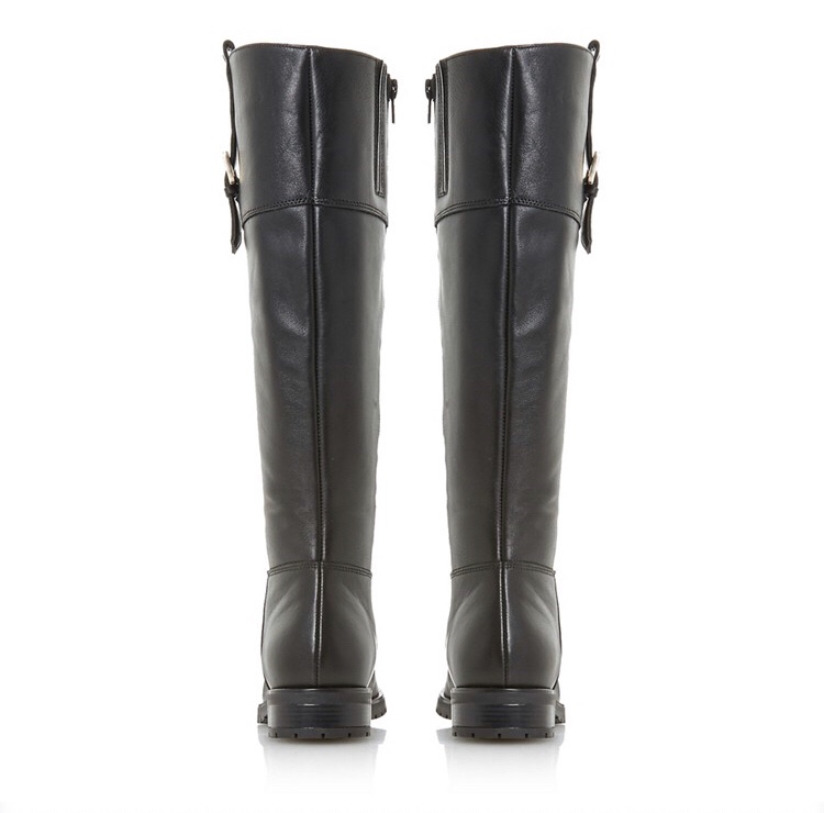 Dune Black Leather Vine Knee High Boots