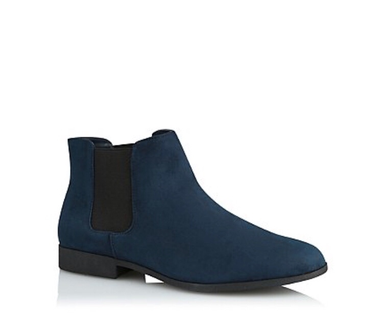 George - Navy Faux Suede Boots