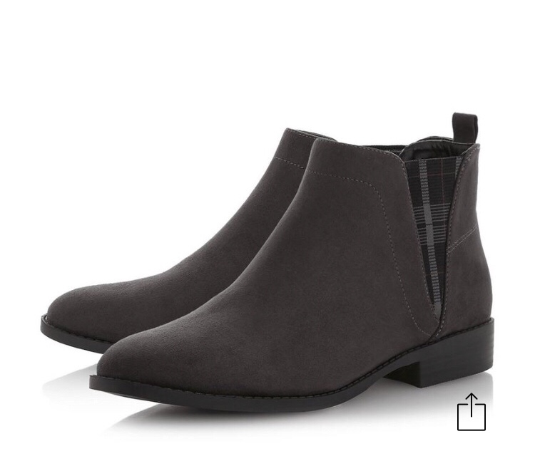 Grey Checked Panel Chelsea Boots